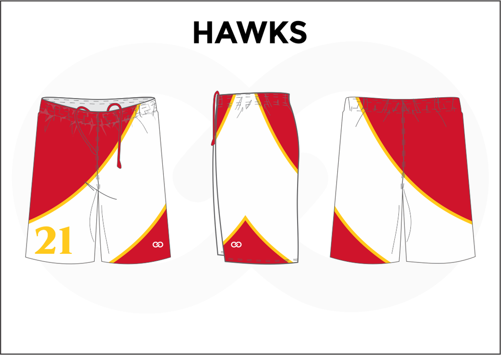 HAWKS Red Yellow and White Youth Boys & Girls Basketball Shorts