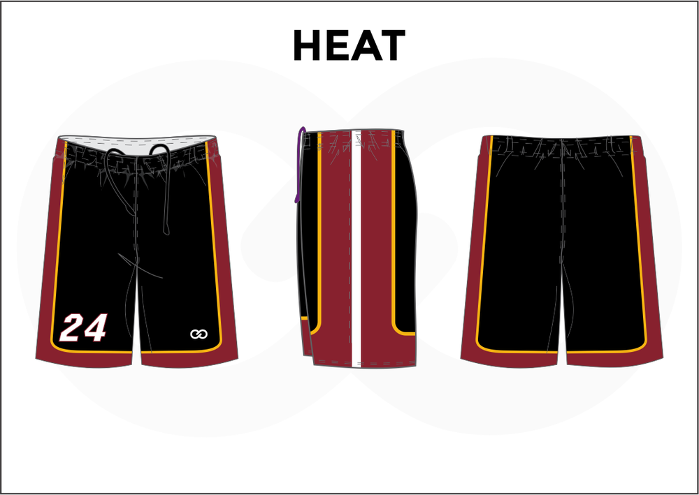 HEAT Black Red Yellow and White Youth Boys and Girls Basketball Shorts