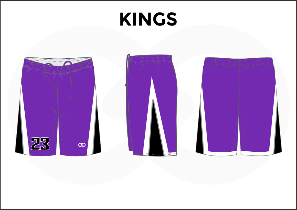 KINGS Violet Black and White Youth Boys & Girls Basketball Shorts