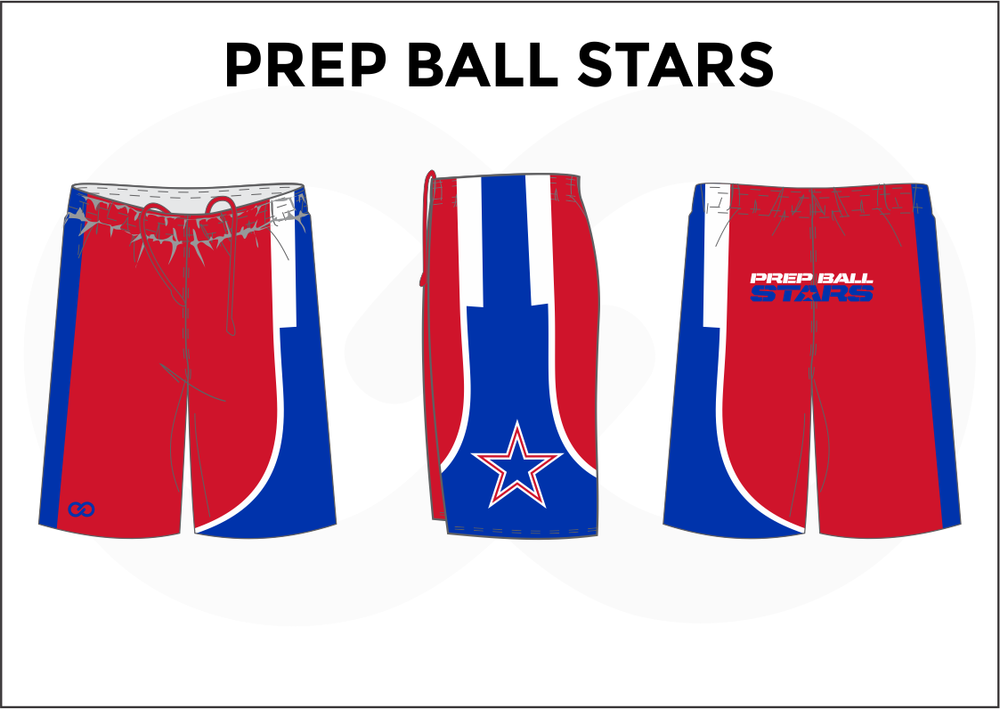 PREP BALL STARS Blue White and Red Youth Boys & Girls Basketball Shorts