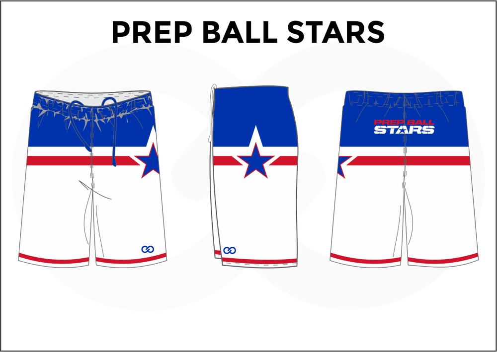 PREP BALL STARS White Blue and Red Youth Boys and Girls Basketball Shorts