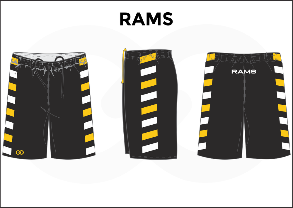 RAMS Black Yellow and White Youth Boys & Girls Basketball Shorts