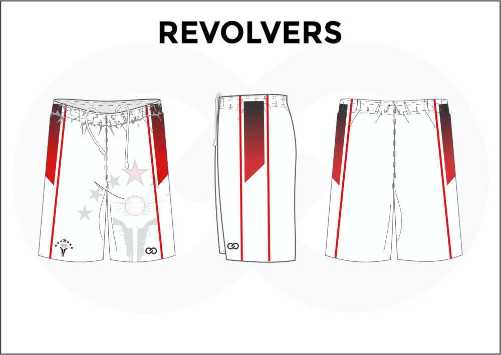 REVOLVERS White Red Black Youth Boys & Girls Basketball Shorts
