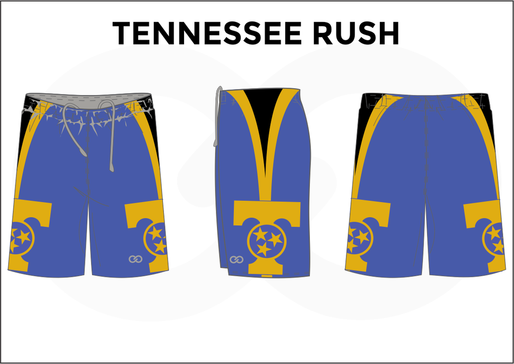 TENNESSEE RUSH Blue Black and Yellow Youth Boys & Girls Basketball Shorts