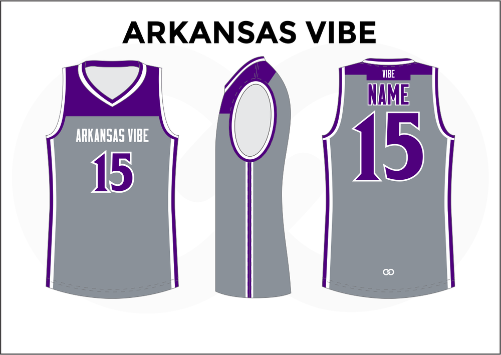 ARKANSAS VIBE Gray Violet and White Men's Basketball Jerseys