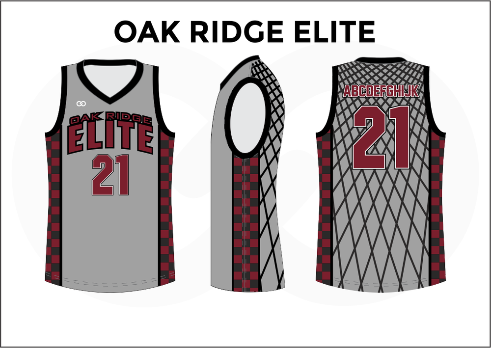 OAK RIDGE ELITE Gray Red Black and White Men's Basketball Jerseys