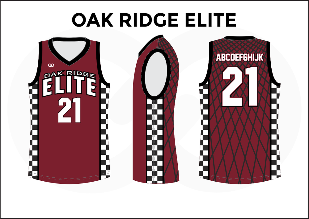 OAK RIDGE ELITE Red Black and White Men's Basketball Jerseys
