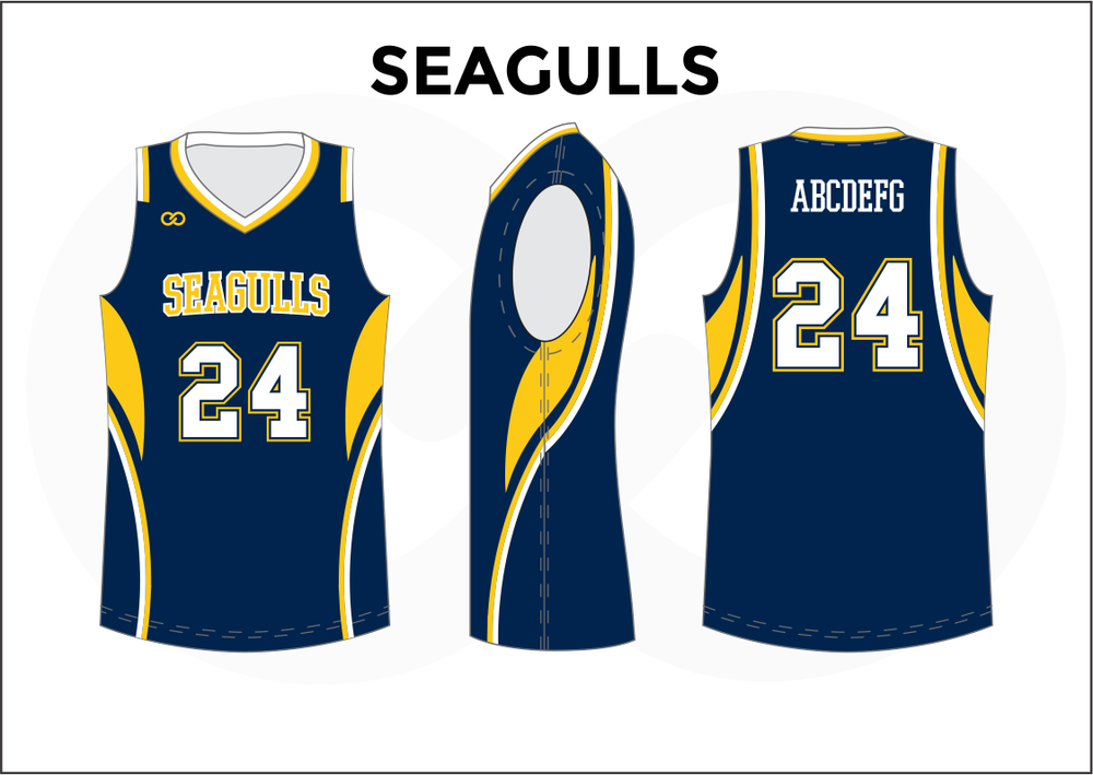 2324b5831cb3 SEAGULLS Blue Yellow and White Men s Basketball Jerseys