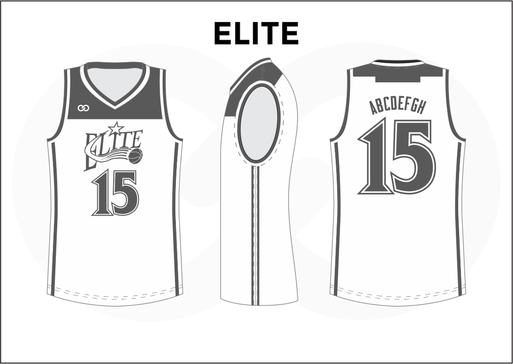 ELITE Gray and White Women's Basketball Jerseys