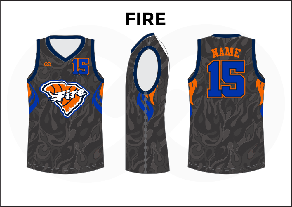 FIRE Black Gray Blue Orange and White Women's Basketball Jerseys