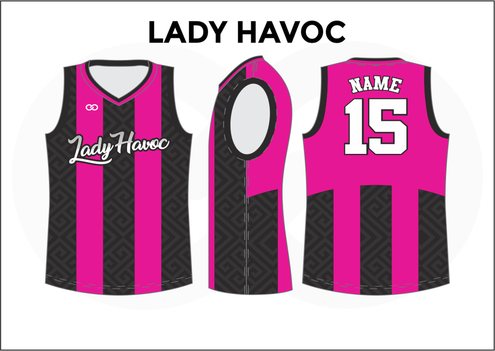 LADY HAVOC Black White and Pink Women's Basketball Jerseys