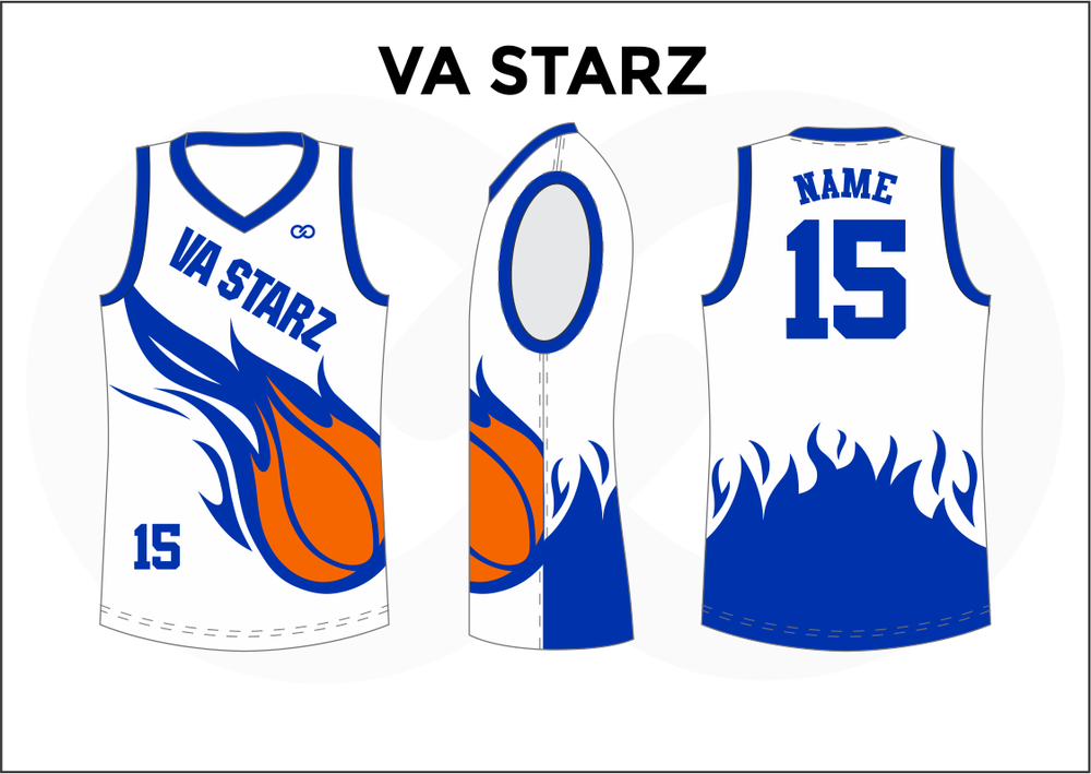 VA STARZ Blue White and Orange Women's Basketball Jerseys