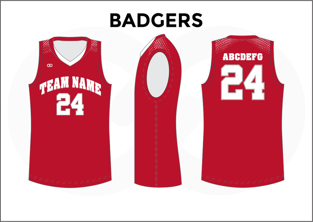 BADGERS Red and White Youth Boys & Girls Basketball Jerseys