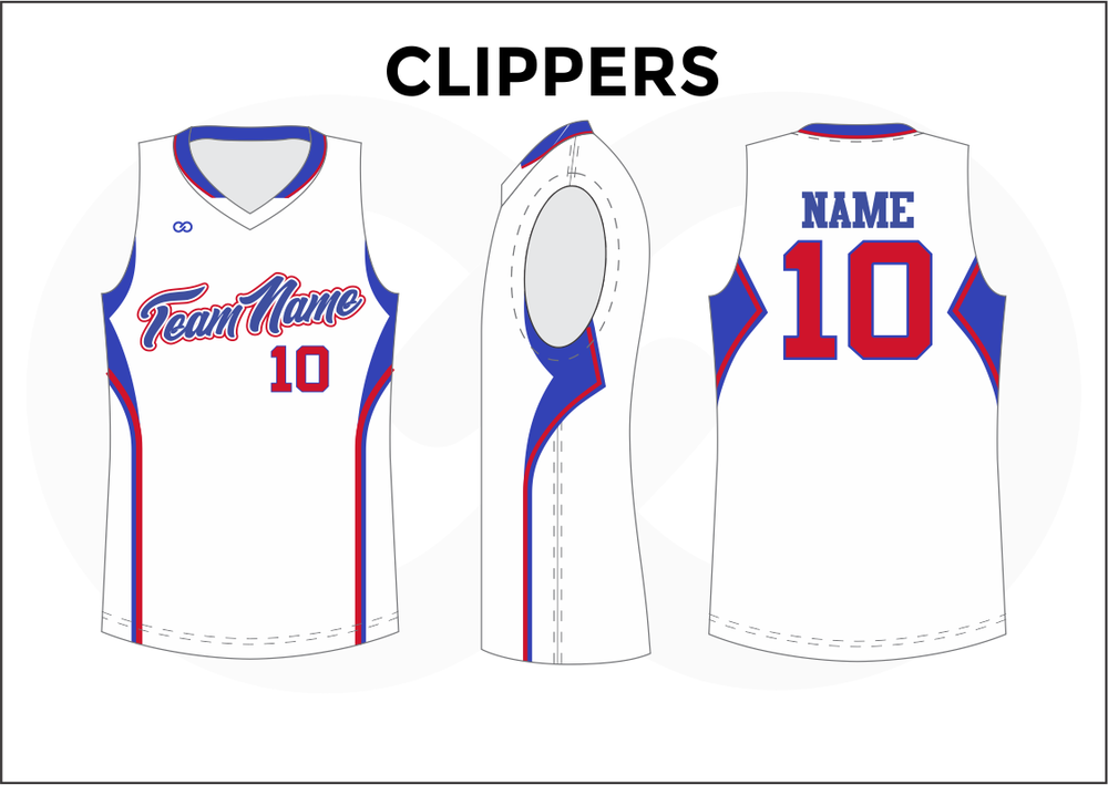 CLIPPERS Blue Red and White Youth Boys & Girls Basketball Jerseys