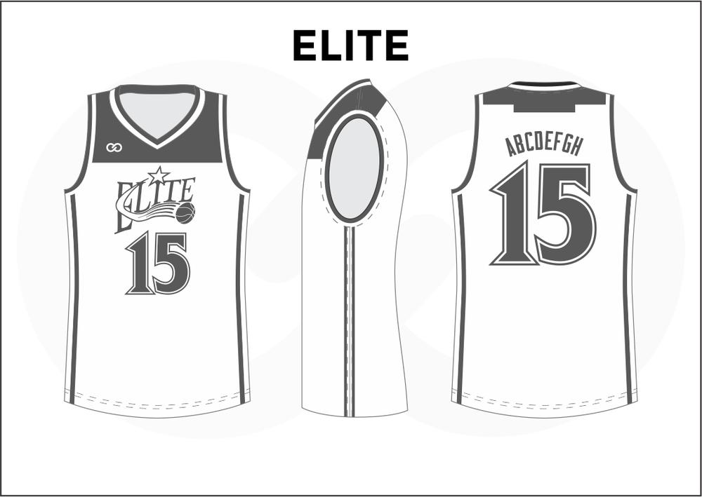 ELITE Gray White Youth Boys & Girls Basketball Jerseys