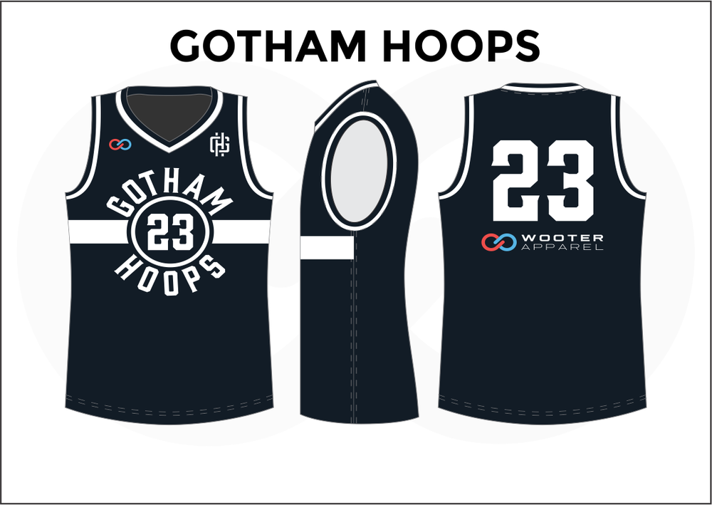 GOTHAM HOOPS Black Blue Red and White Youth Boys & Girls Basketball Jerseys