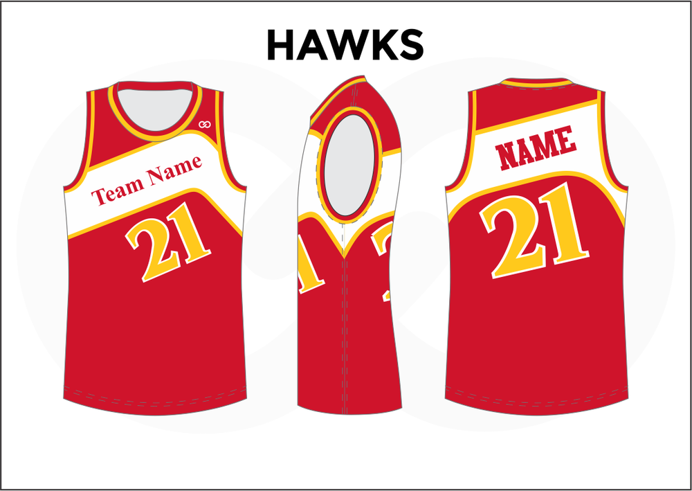 HAWKS Red White and Yellow Youth Boys & Girls Basketball Jerseys