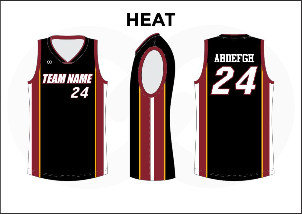 HEAT Black Red Yellow and White Youth Boys & Girls Basketball Jerseys