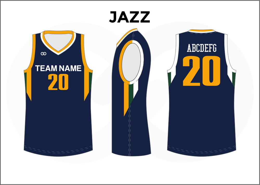 JAZZ Blue Yellow and White Youth Boys & Girls Basketball Jerseys