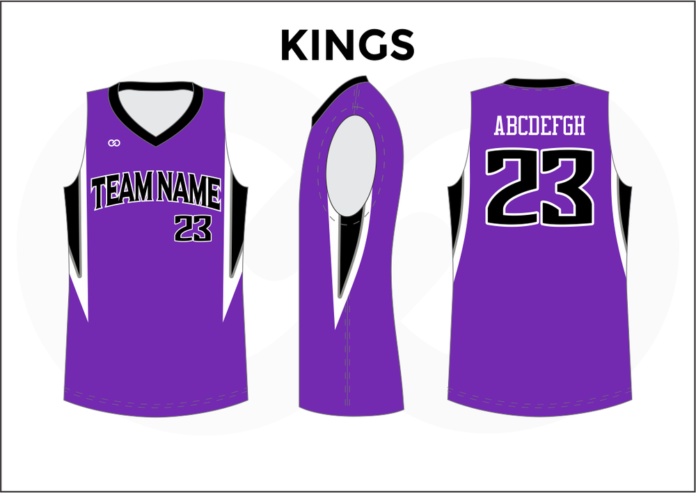 KINGS Violet Black and White Youth Boys & Girls Basketball Jerseys