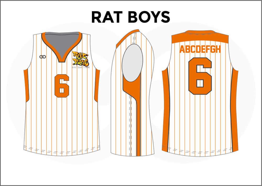 RAT BOYS White Gray Orange Youth Boys & Girls Basketball Jerseys