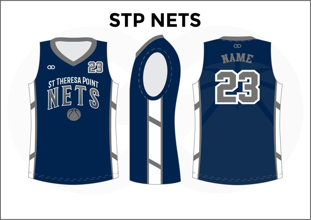 STP NETS Blue Gray and White Youth Boys & Girls Basketball Jerseys