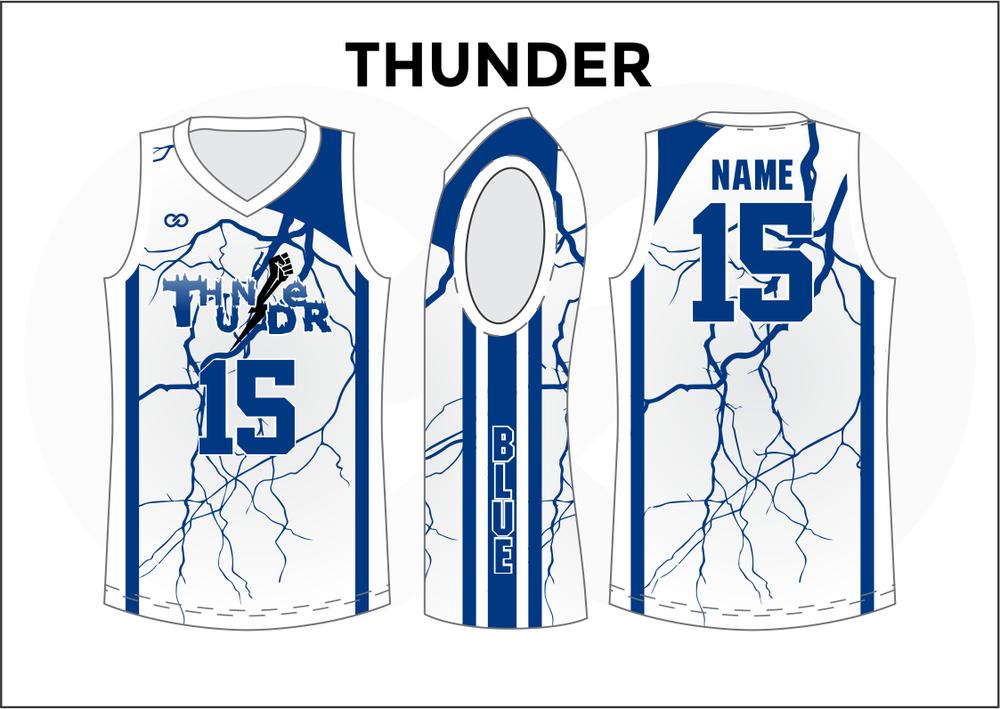 THUNDER White Blue Youth Boys & Girls Basketball Jerseys