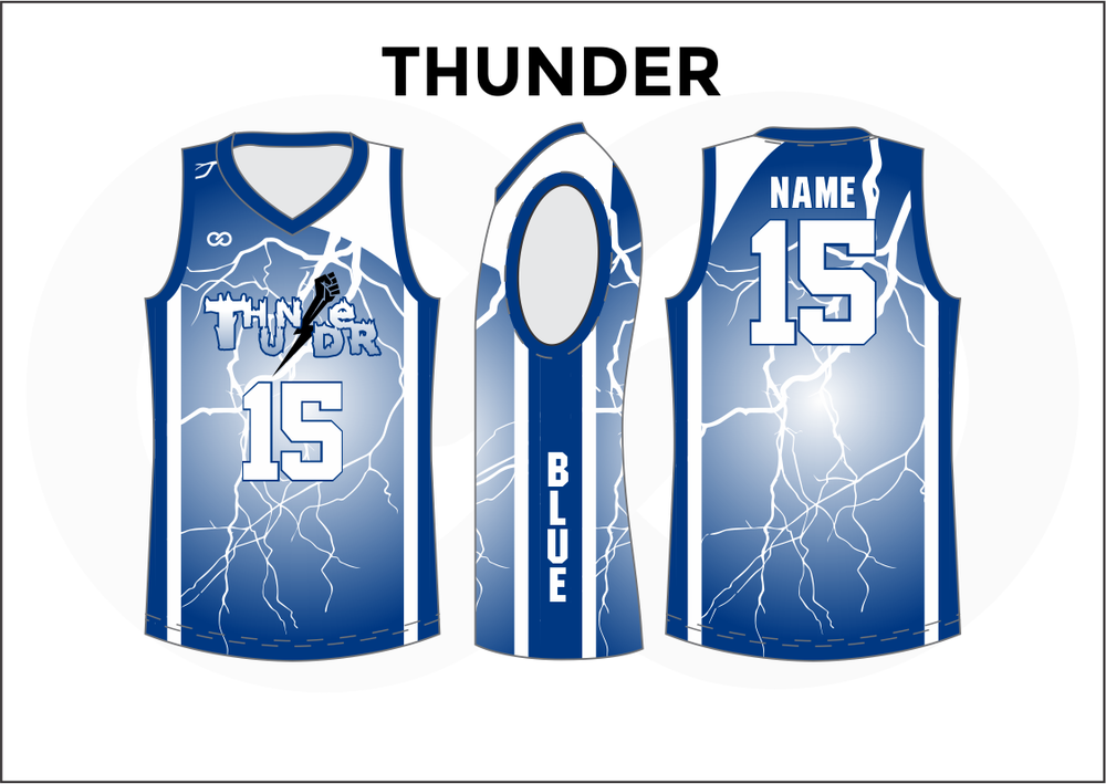 THUNDER Blue and White Youth Boys & Girls Basketball Jerseys