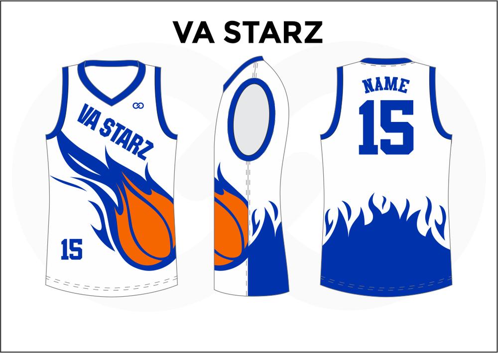 VA STARZ Blue White and Orange Youth Boys & Girls Basketball Jerseys