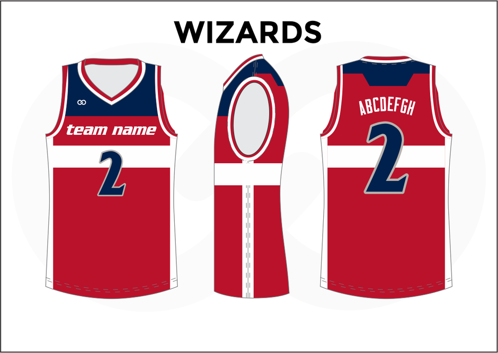WIZARDS Red Blue and White Youth Boys & Girls Basketball Jerseys