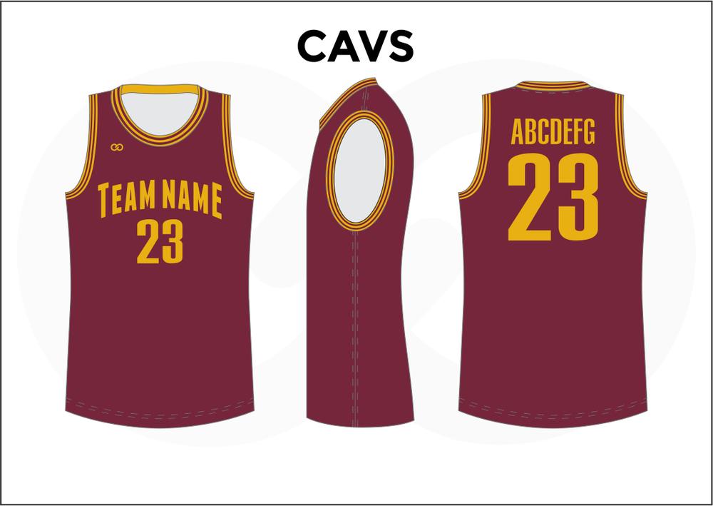 CAVS Maroon White and Yellow Kids Basketball Jerseys