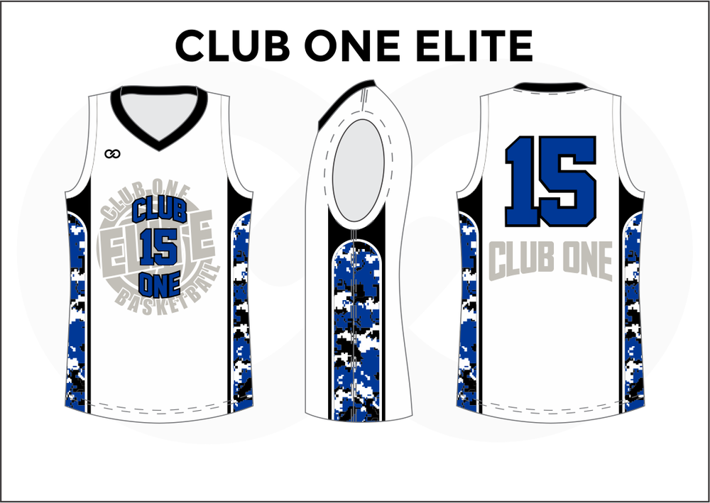 CLUB ONE ELITE Black Blue and White Kids Basketball Jerseys