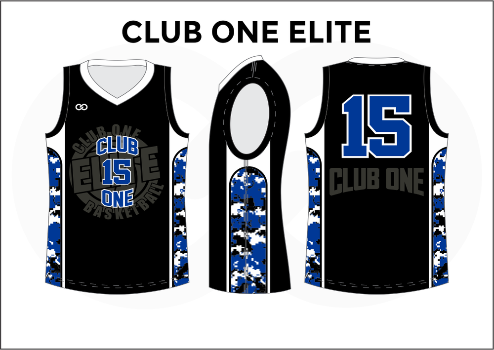 CLUB ONE ELITE Black Gray Blue and White Kids Basketball Jerseys