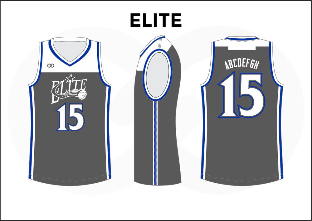 ELITE Gray White and Blue Kids Basketball Jerseys