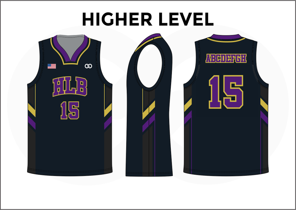 HIGHER LEVEL Black Violet Yellow and White Kids Basketball Jerseys