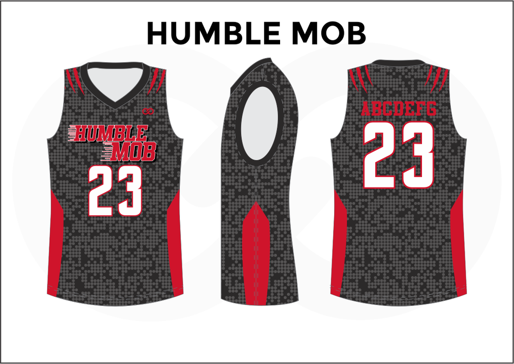 HUMBLE MOB Black Gray Red and White Kids Basketball Jerseys