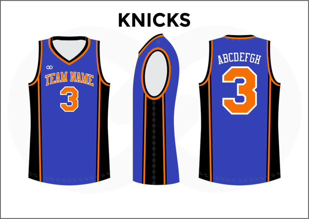 KNICKS Black Orange and Blue Kids Basketball Jerseys