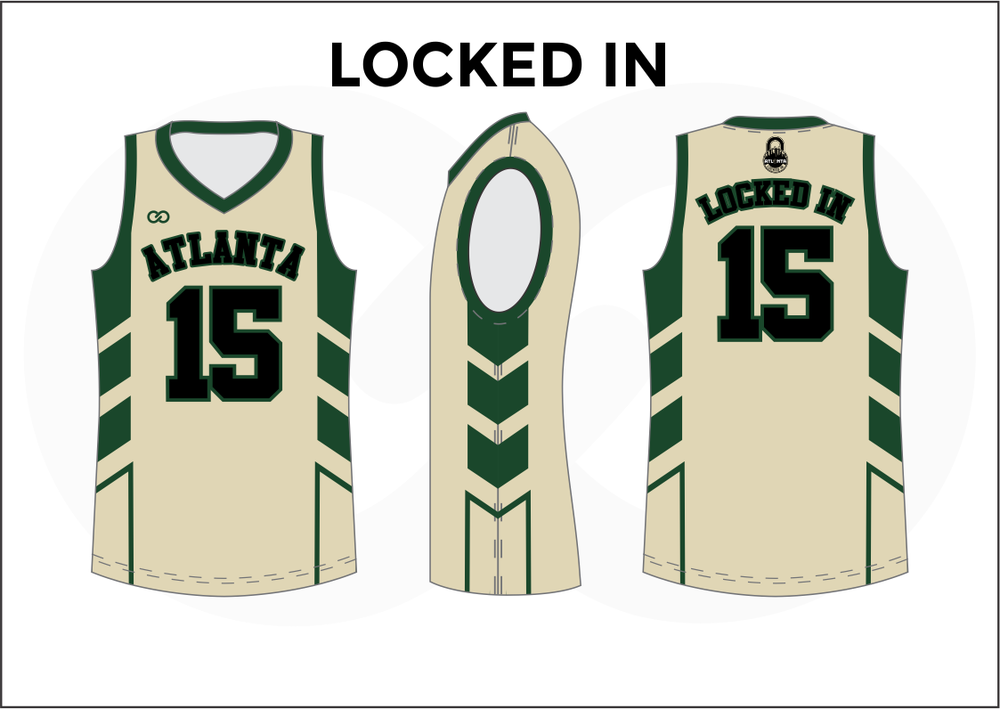 LOCKED IN Green Black and White Kids Basketball Jerseys
