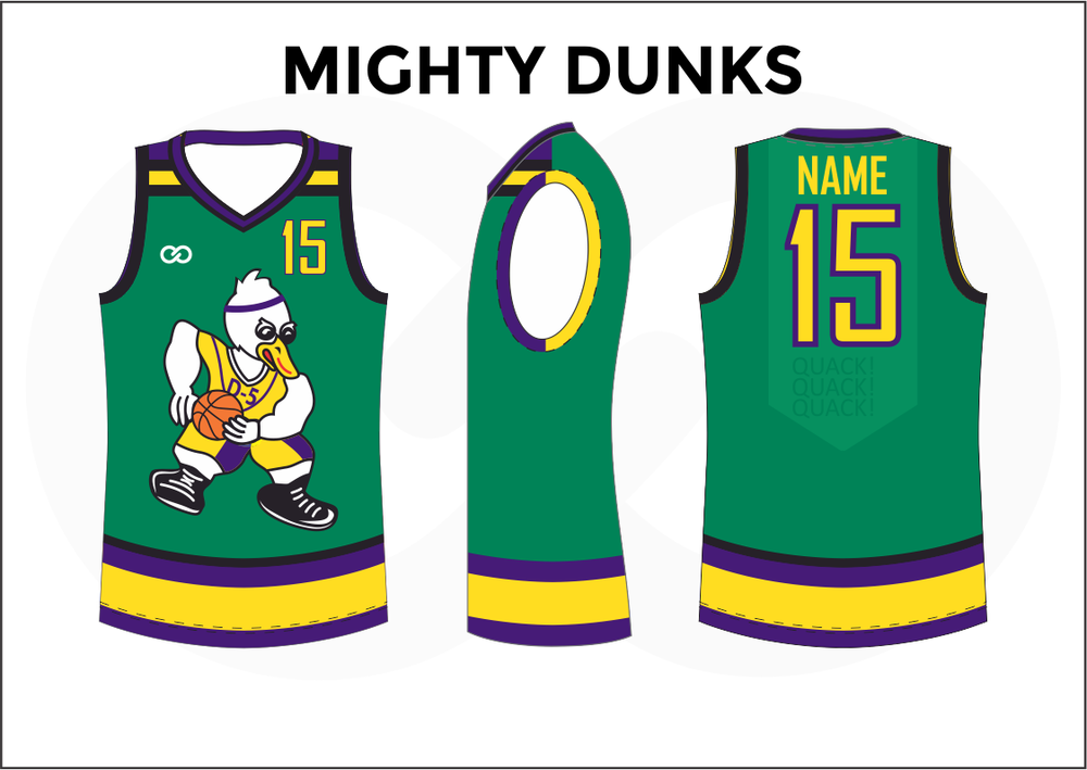 MIGHTY DUNKS Green Violet Yellow Black and White Kids Basketball Jerseys