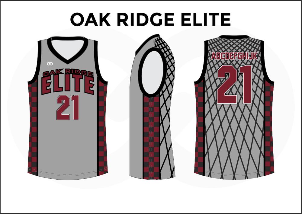OAK RIDGE ELITE Gray White Red and Black Kids Basketball Jerseys
