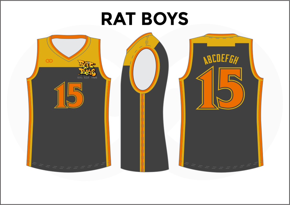 RAT BOYS Yellow Orange and Gray Kids Basketball Jerseys