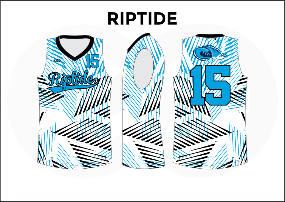 RIPTIDE Black Blue and White Kids Basketball Jerseys