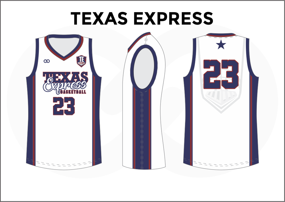 26d7d169fe7 TEXAS EXPRESS Blue Red and White Kids Basketball Jerseys