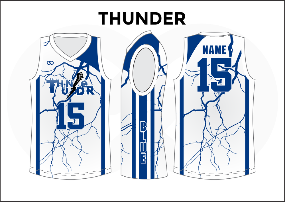 THUNDER Blue and White Kids Basketball Jerseys