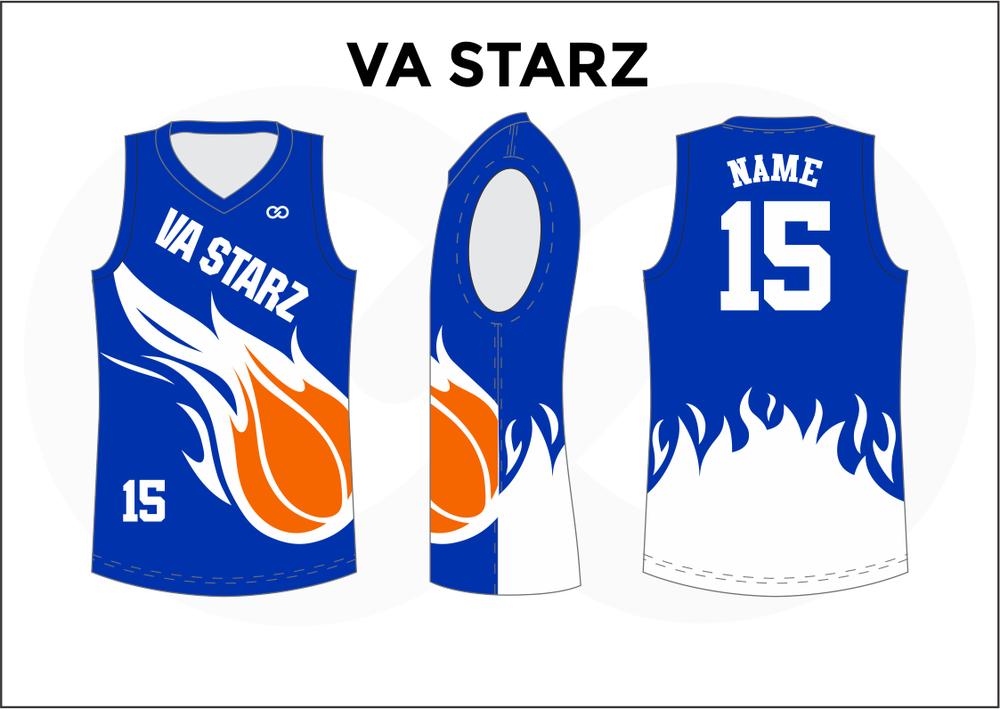VA STARZ Blue White and Orange Kids Basketball Jerseys