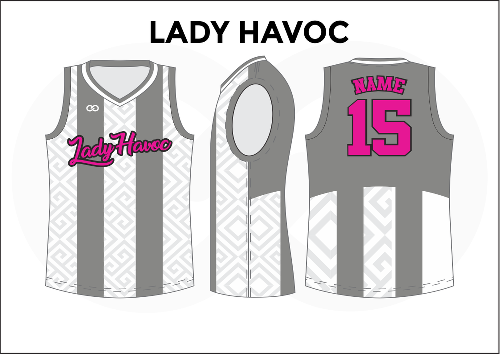 LADY HAVOC Gray White and Pink Reversible Basketball Jerseys