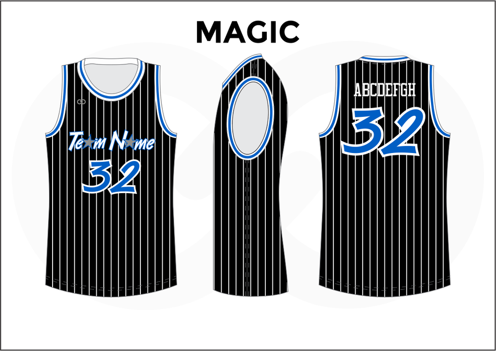 MAGIC Black White and Blue Reversible Basketball Jerseys