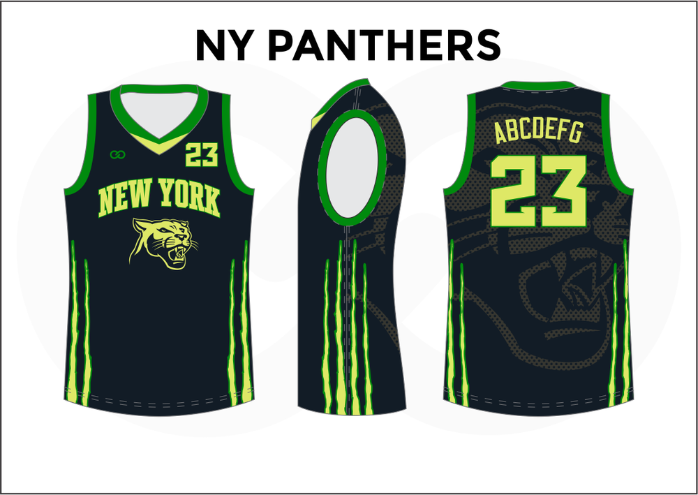 NY PANTHERS Black Green and Yellow Green Reversible Basketball Jerseys