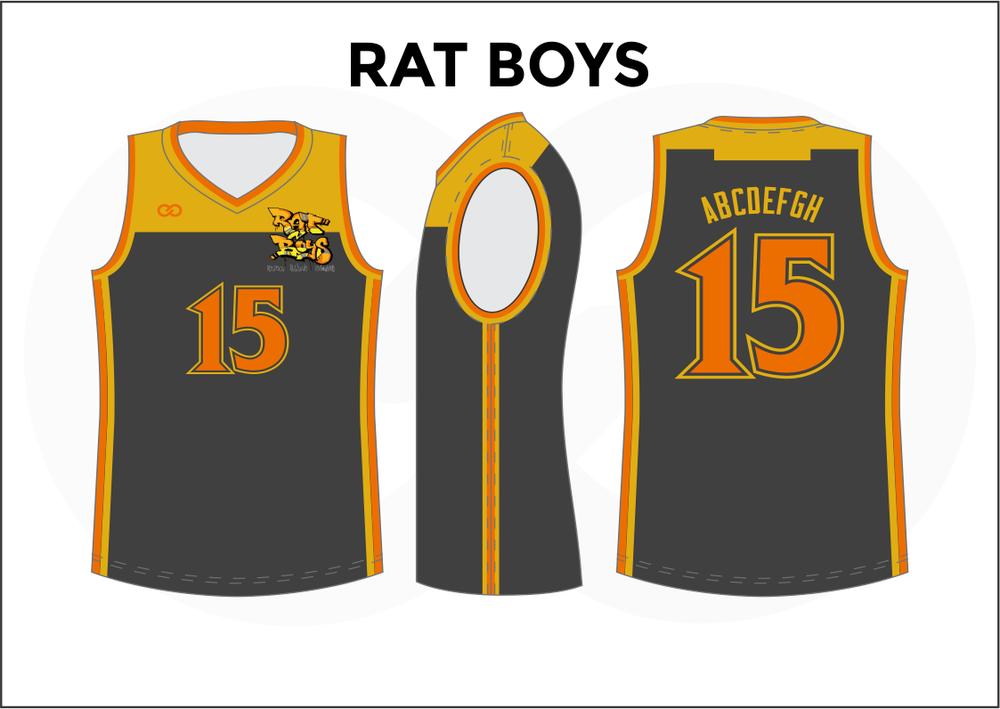 RAT BOYS Yellow Orange and Gray Black Reversible Basketball Jerseys