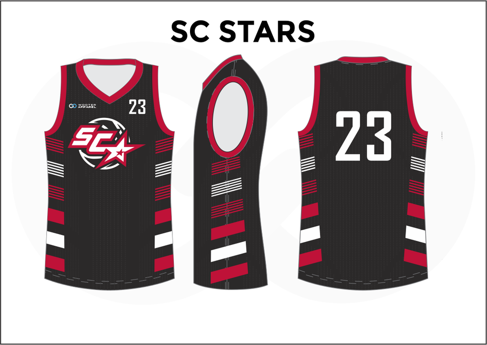 SC STARS Black Red Gray and White Reversible Basketball Jerseys